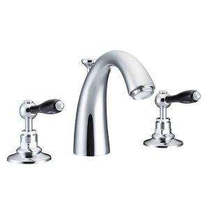 St James London Metal Lever 3-Hole Deck Mounted Basin Mixer Tap, Classical Spout (black)-SJ404-LMBK